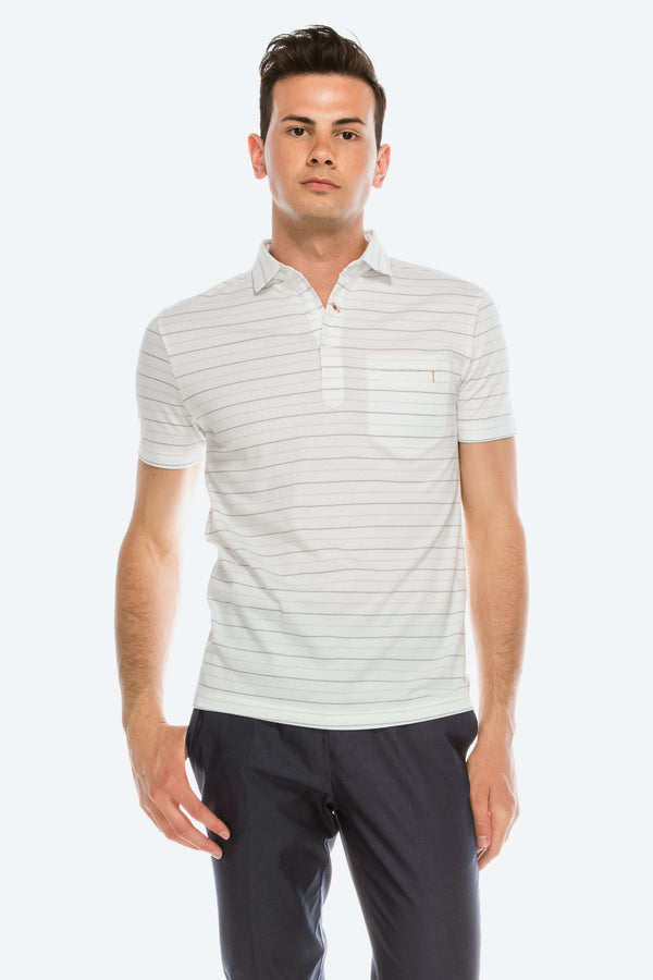 Zinovizo Men's Slim-Fit White/Double Striped Polo Shirt