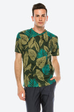 Zinovizo Men's Slim-Fit Tropical Leaves T-Shirt