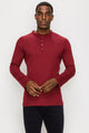 Zinovizo Men's Slim-Fit Red Wine Long Sleeves T-Shirt