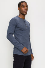 Zinovizo Men's Slim-Fit Steel Blue Long Sleeves T-Shirt