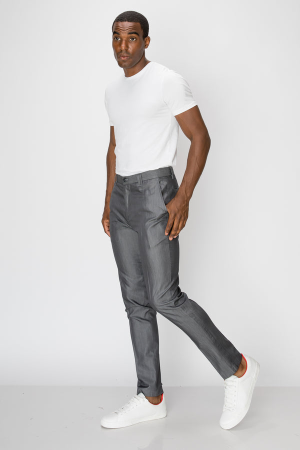 Zinovizo Men's Slim-fit Metal Grey Trousers