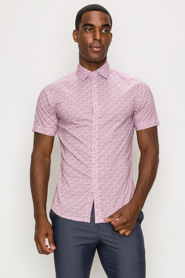 Zinovizo Men's Slim-Fit Cherry Geometric Print Shirt