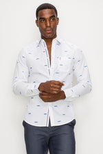 Zinovizo Men's Slim-Fit White Car Motifs Print Shirt