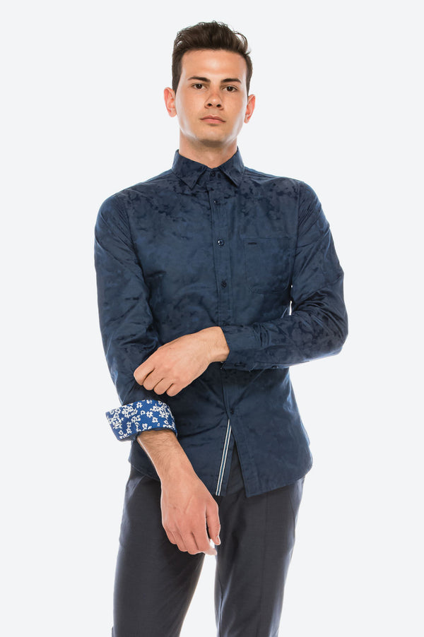 Zinovizo Men's Slim-Fit Deep Blue Motifs Print Shirt