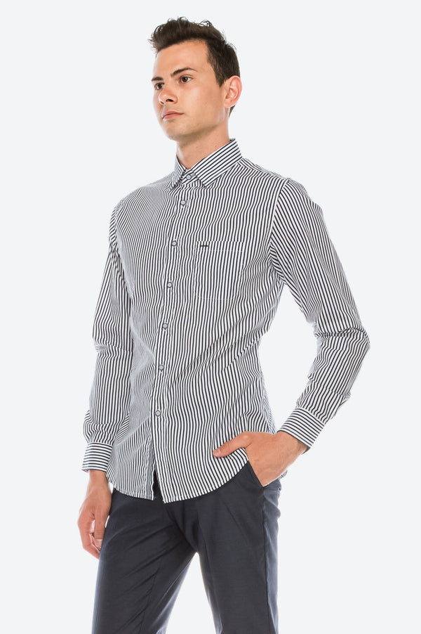 Zinovizo Men's Slim-Fit Black Striped Print Shirt
