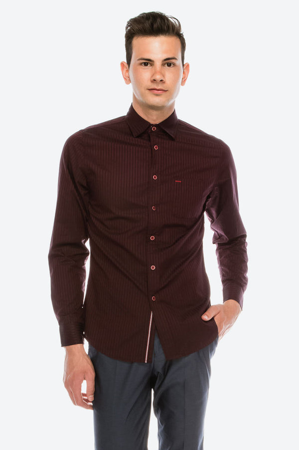 Zinovizo Men's Slim-Fit Deep Burgundy Striped Print Shirt