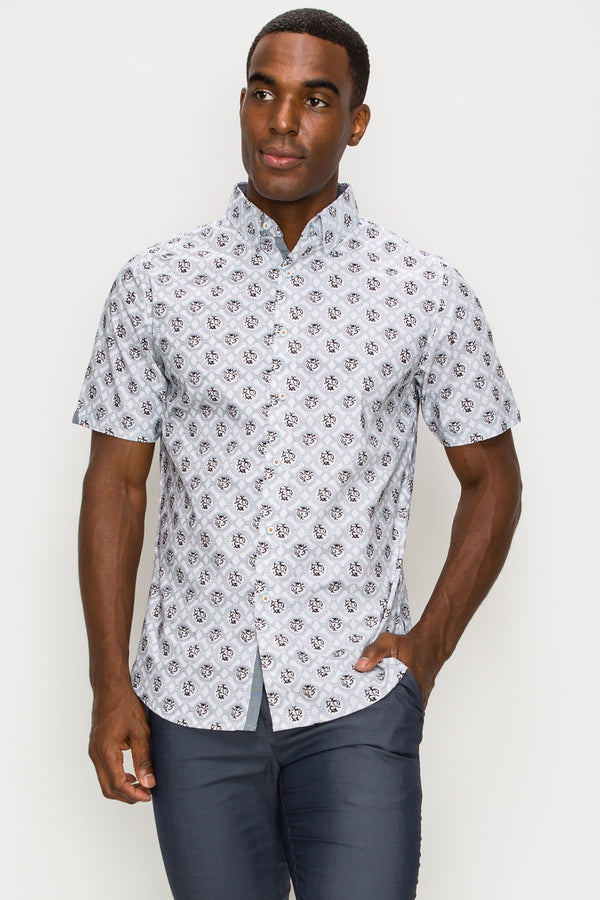 Zinovizo Men's Slim-Fit Grey Geometric Embossing Print Shirt