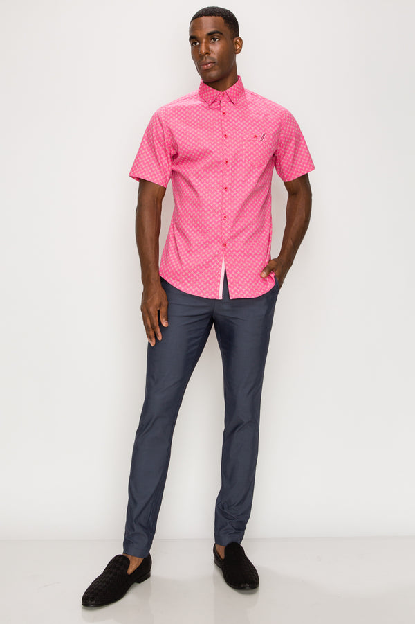 Zinovizo Men's Slim-Fit Hot Pink Flower Print Shirt
