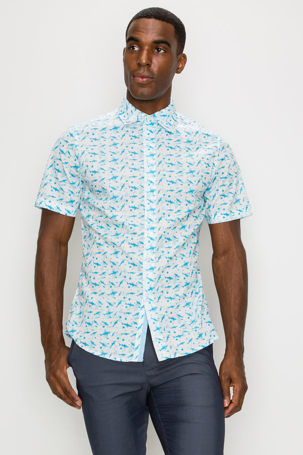 Zinovizo Men's Slim-Fit Shark Print Shirt