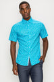 Zinovizo Men's Slim-Fit Bright Turquoise Print Shirt