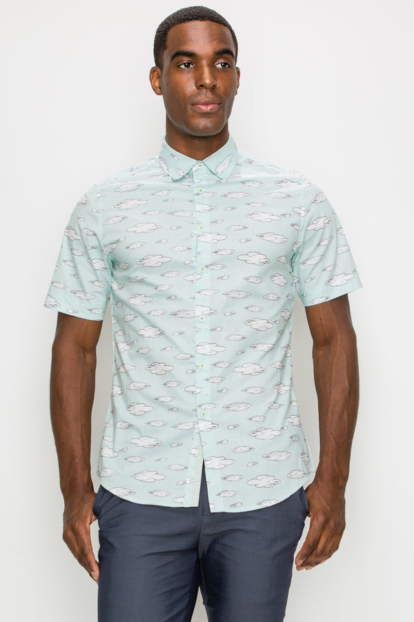 Zinovizo Men's Slim-Fit Mint Cloud 9 Print Shirt