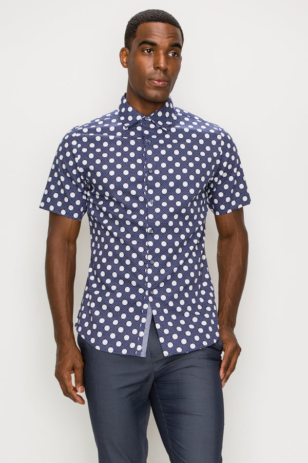 Zinovizo Men's Slim-Fit White & Blue Polka-dot Print Shirt