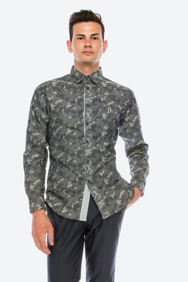 Zinovizo Men's Slim-Fit Camouflage Print Shirt