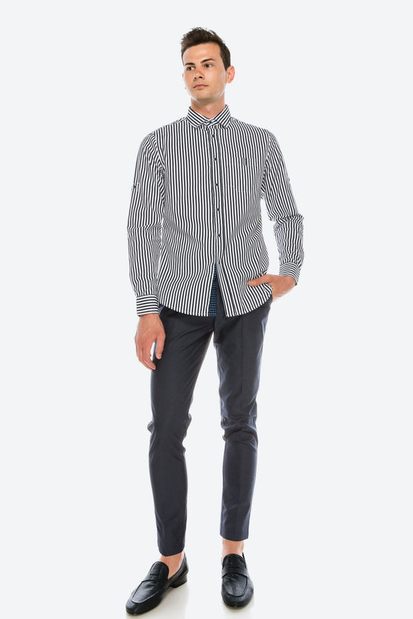 Zinovizo Men's Slim-Fit Standard Black & White Striped Print Shirt