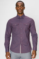 Zinovizo Men's Slim-Fit Navy & Burgundy Checkered Print Shirt