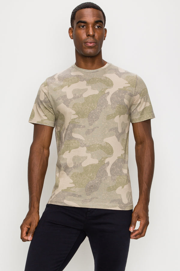 Zinovizo Men's Slim-Fit Beige Military T-Shirt