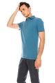 Zinovizo Men's Slim-Fit Teal/Grey Striped Polo Shirt