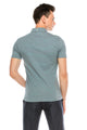 Zinovizo Men's Slim-Fit Grey & Light Green Striped Polo Shirt