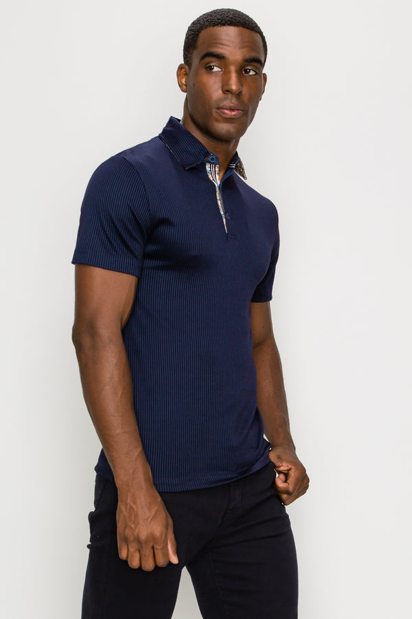 Zinovizo Men's Black & Navy Striped Polo Shirt