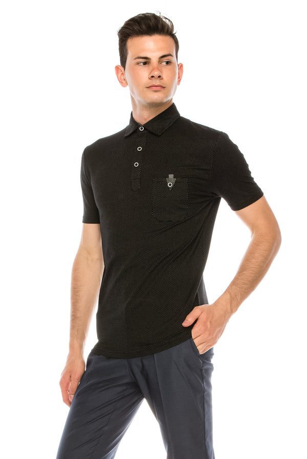 Zinovizo Men's Slim-Fit Black Polka-dot Polo Shirt