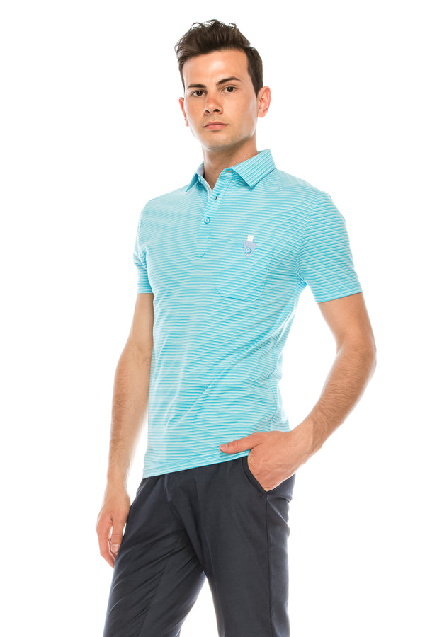 Zinovizo Men's Slim-Fit Aquamarine Striped Polo Shirt