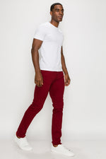 Zinovizo Men's Slim-fit Red Wine Pants