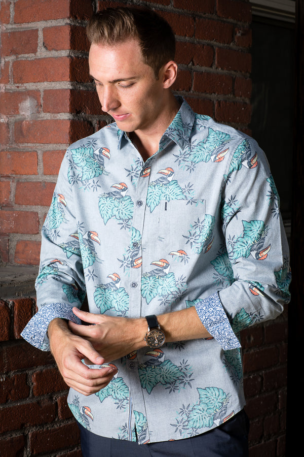 Zinovizo Men's Slim-Fit Big Parrot Print Shirt