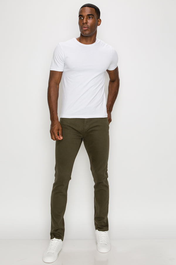 Zinovizo Men's Skinny-fit Olive Green Pants