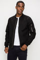 Zinovizo Men's Slim-Fit Black Bomber Jacket with Zipper Arm Pocket