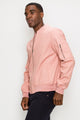 Zinovizo Men's Pink Peach Bomber Jacket with Zipper Arm Pocket