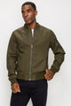 Zinovizo Men's Olive Green Bomber Jacket with Zipper Arm Pocket
