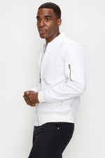 Zinovizo Men's White Bomber Jacket with Zipper Arm Pocket