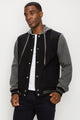 Zinovizo Men's Grey-Black Baseball Jacket with Hoodie