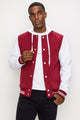 Zinovizo Men's Burgundy Baseball Jacket with Hoodie
