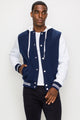 Zinovizo Men's Navy Baseball Jacket with Hoodie