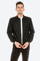 Zinovizo Men's Slim-Fit Simple Black Bomber Jacket