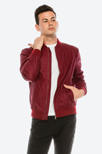 Zinovizo Men's Slim-Fit Burgundy Bomber Jacket