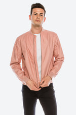 Zinovizo Men's Slim-Fit Pink Peach Bomber Jacket