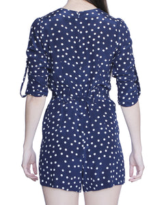 Dixie Short Romper, Blue-Polka Dots - Ondululations womens silk dresses