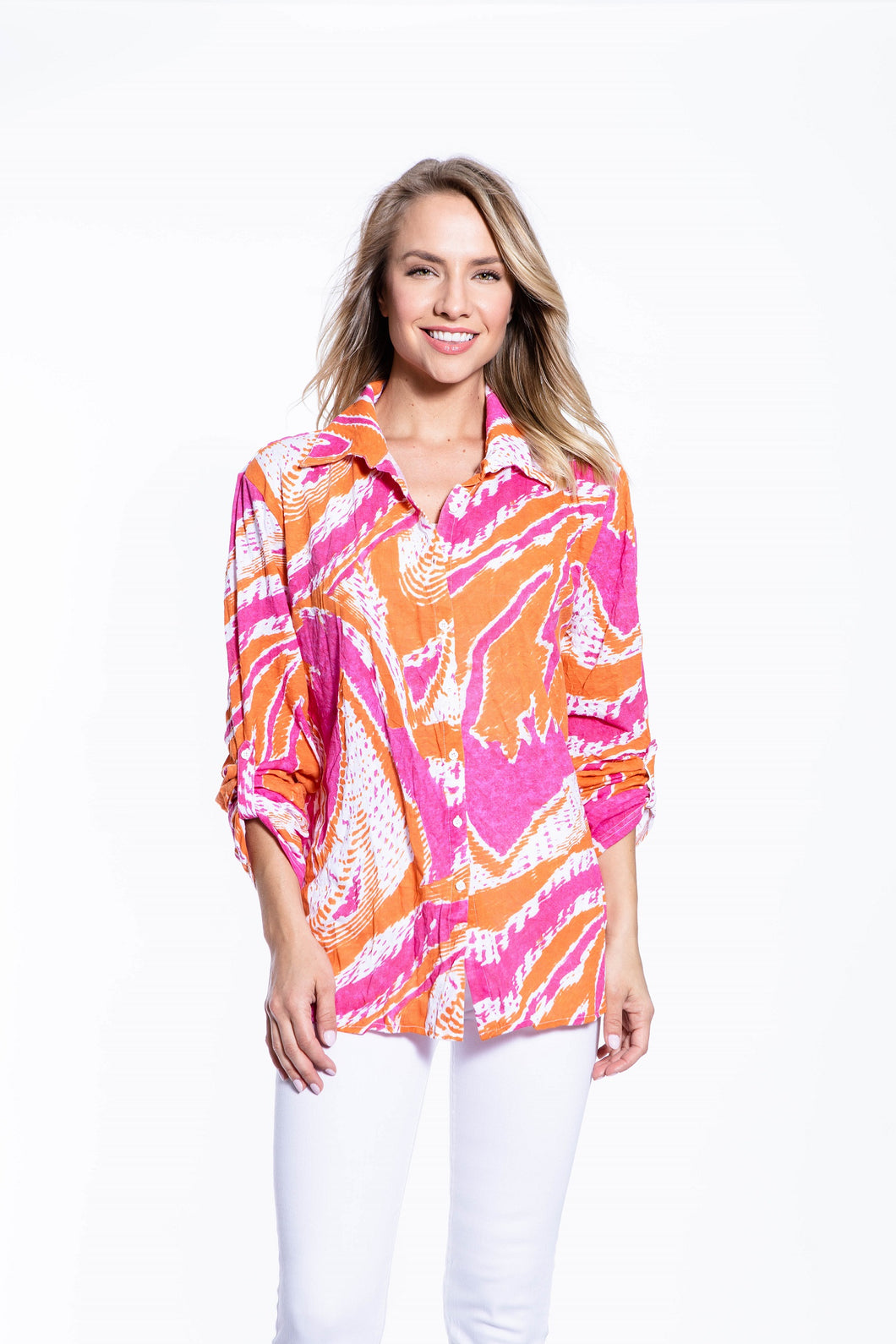 Crinkle Knit Women's Fashion Blouse with Rollup Sleeves - Hot Lava - Ondululations womens silk dresses