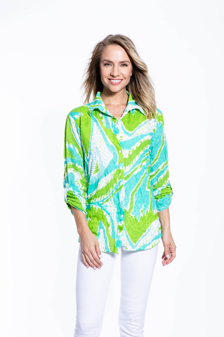Crinkle Knit Women's Fashion Blouse with Rollup Sleeves - North Shore - Ondululations womens silk dresses