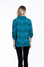 Crinkle Knit Women's Fashion Blouse with Rollup Sleeves - Teal Print - Ondululations womens silk dresses