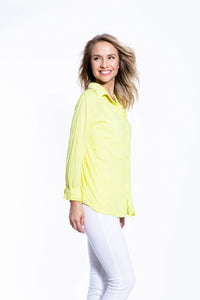 Crinkle Knit Women's Fashion Blouse with Rollup Sleeves - Blazing Yellow - Ondululations womens silk dresses