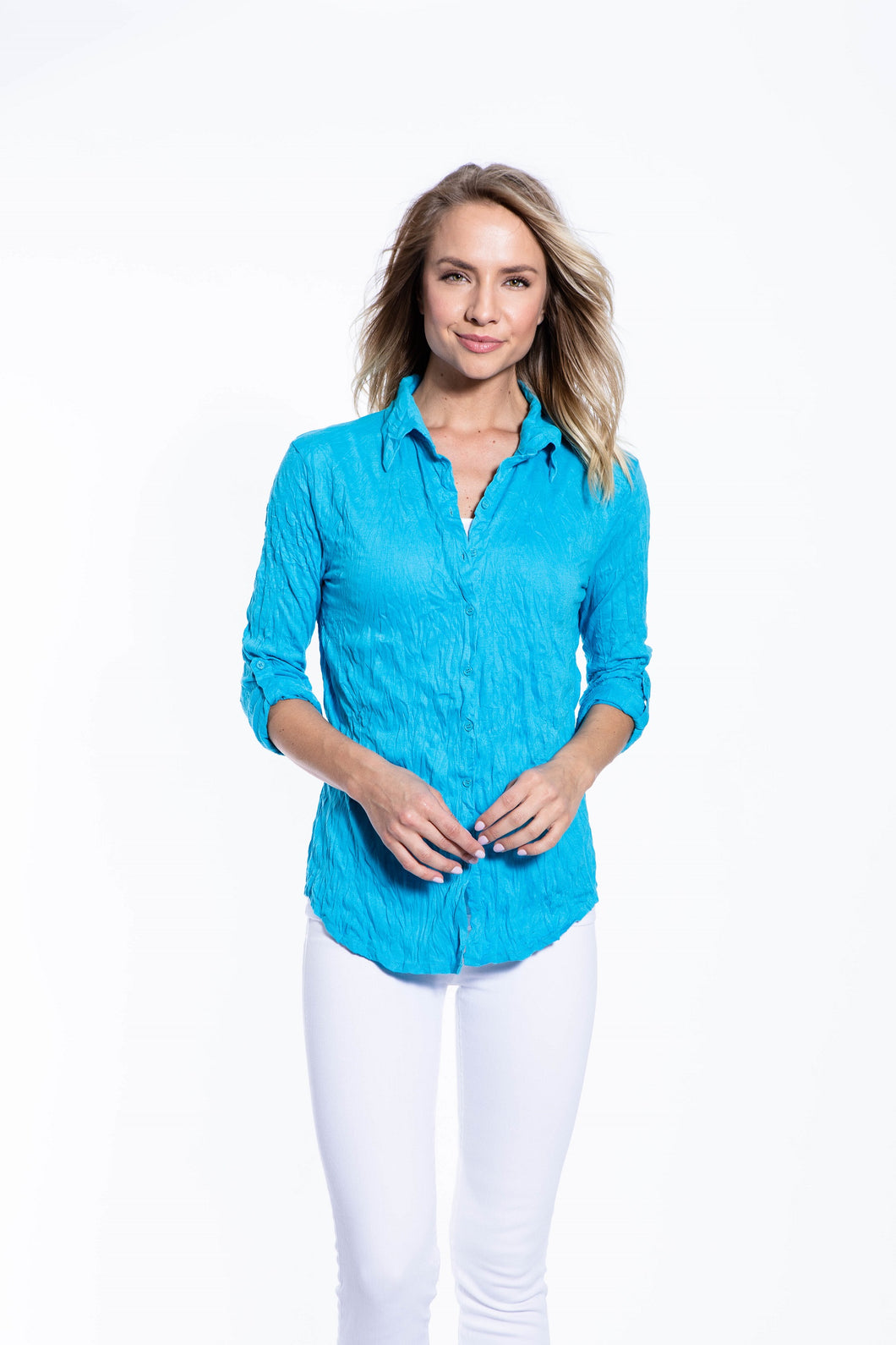 Crinkle Knit Women's Fashion Blouse with Rollup Sleeves - Cyan - Ondululations womens silk dresses