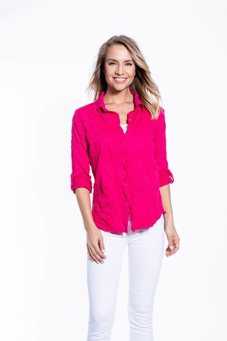 Crinkle Knit Women's Fashion Blouse with Rollup Sleeves - Hot Pink - Ondululations womens silk dresses