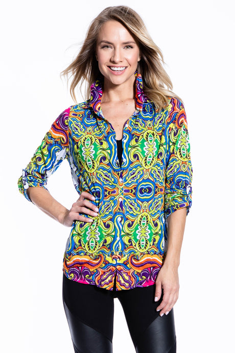 Crinkle Knit Women's Fashion Blouse, Transfer Print - Greece - Ondululations womens silk dresses