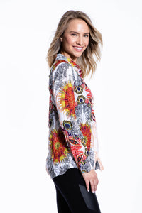 Crinkle Knit Women's Fashion Blouse, Transfer Print - Istanbul - Ondululations womens silk dresses