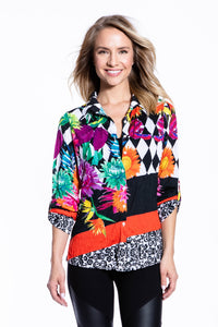 Crinkle Knit Women's Fashion Blouse, Transfer Print - Mums & More - Ondululations womens silk dresses