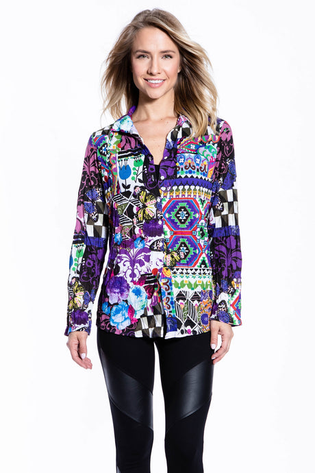 Crinkle Knit Women's Fashion Blouse, Transfer Print - New Orleans - Ondululations womens silk dresses