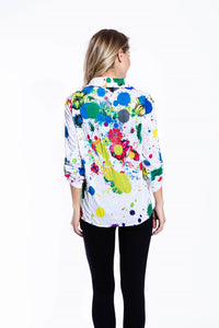 Crinkle Knit Women's Fashion Blouse, Transfer Print - Paint Splatter - Ondululations womens silk dresses